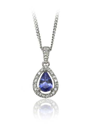 Diamond & Tanzanite Halo Pendant