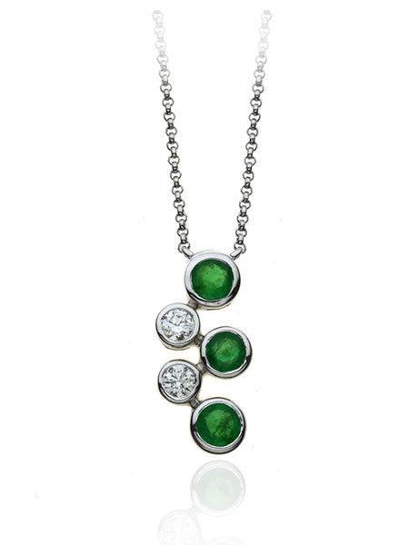 Diamond & Emerald Five Stone Bubble Pendant