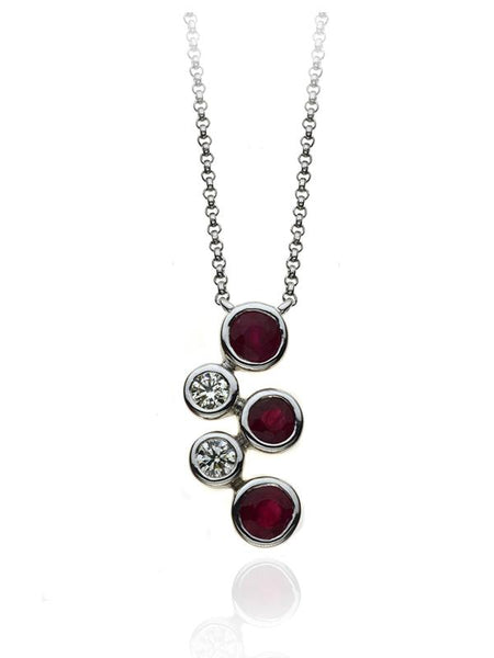 Diamond & Ruby Five Stone Bubble Pendant