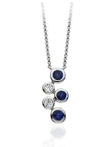 Diamond & Sapphire Five Stone Bubble Pendant