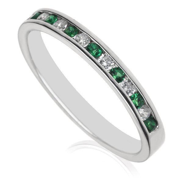 Diamond & Emerald Half Eternity Ring