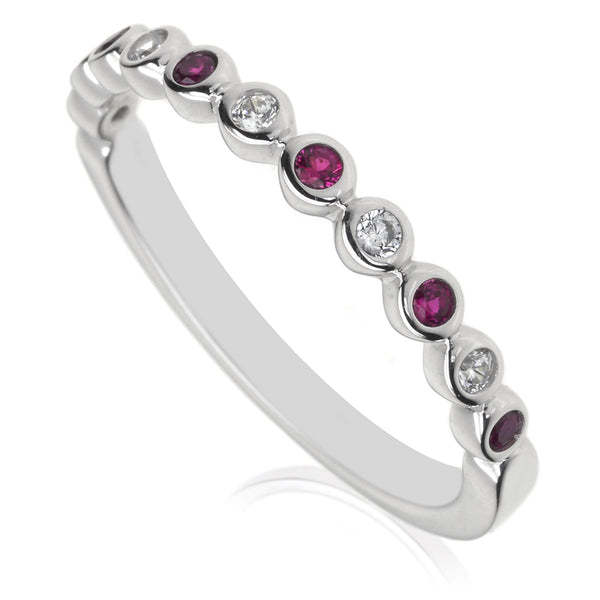 Diamond & Ruby Half Eternity Ring