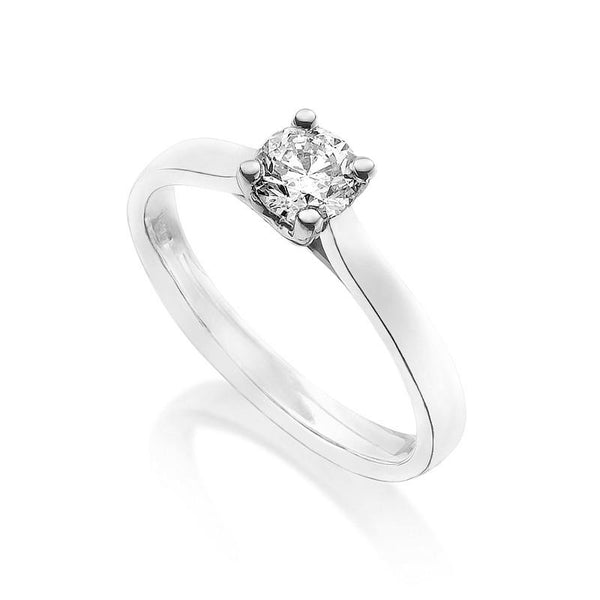 Diamond Engagement Ring 0.33 Carat Round Diamond J Color SI1 Clarity IGI Certificate