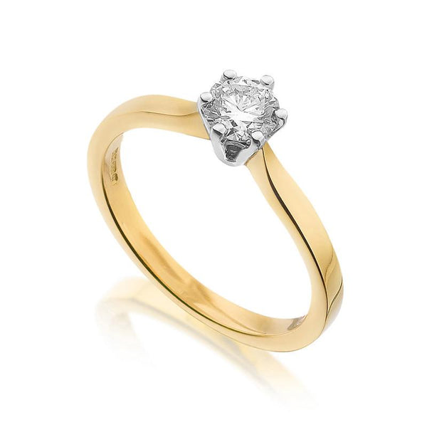 Diamond Engagement Ring 0.33 Carat Round Diamond J Color SI1 Clarity GIA Certificate