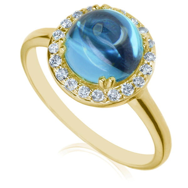 Diamond & Blue Topaz Dress Ring