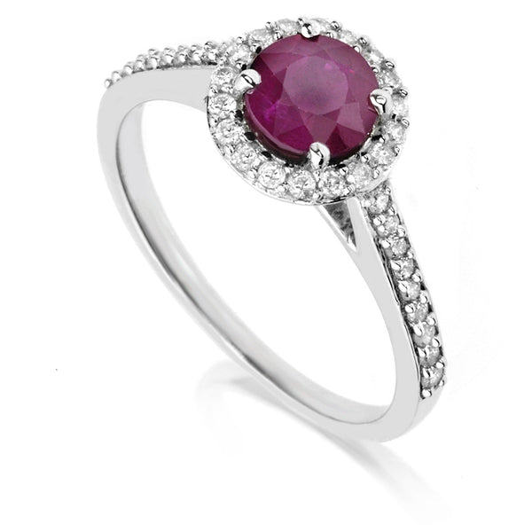Diamond & Ruby Halo Ring
