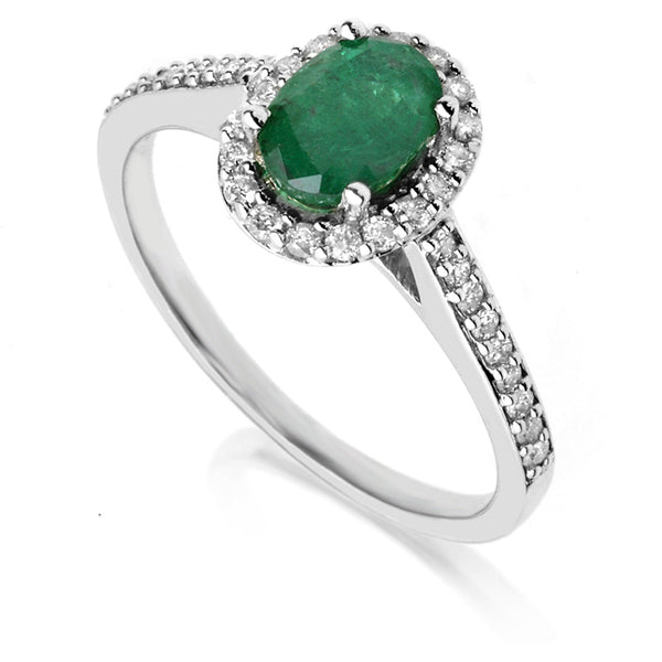 Diamond & Emerald Halo Ring