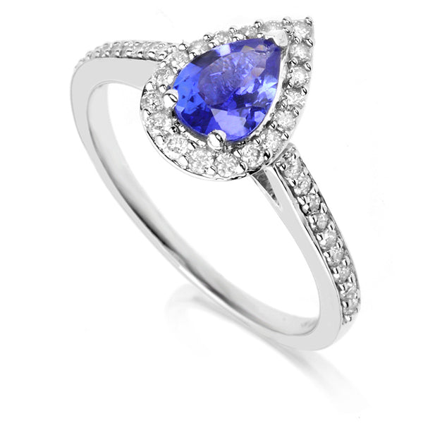Diamond & Tanzanite Halo Ring