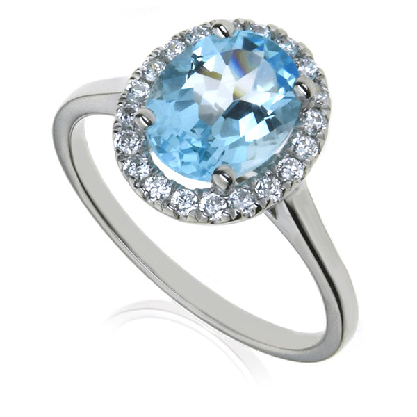 Diamond & Blue Topaz Cluster Ring