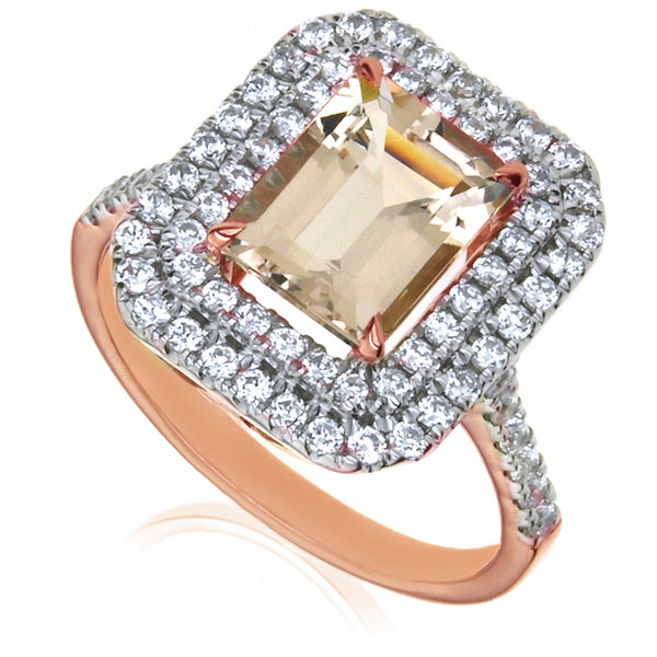 Diamond & Morganite Cluster Ring
