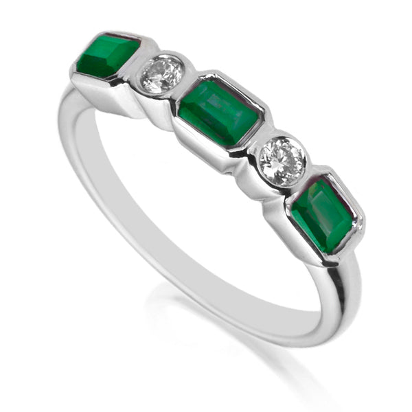 Diamond & Emerald Five Stone Ring