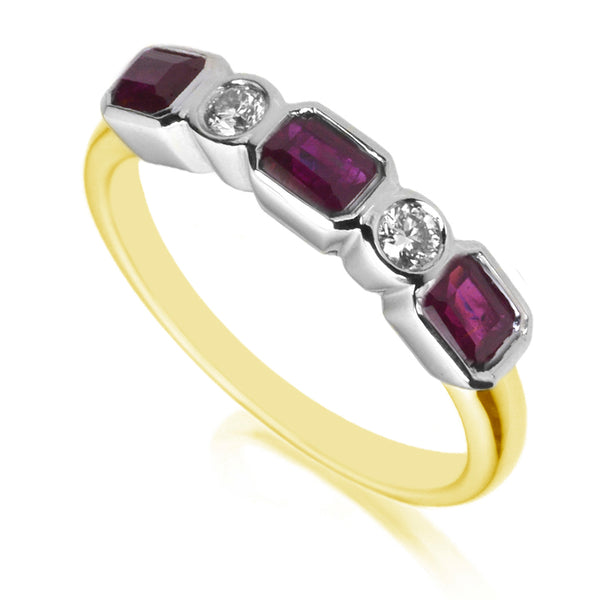 Diamond & Ruby Five Stone Ring