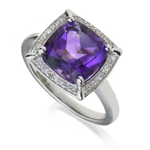Diamond & Amethyst Cluster Ring