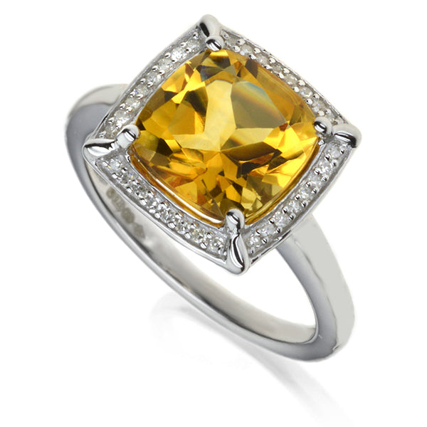 Diamond & Citrine Cluster Ring