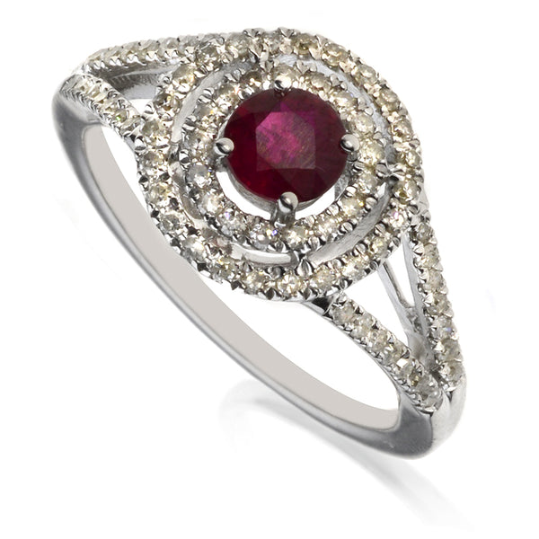 Diamond & Ruby Halo Double Cluster Ring