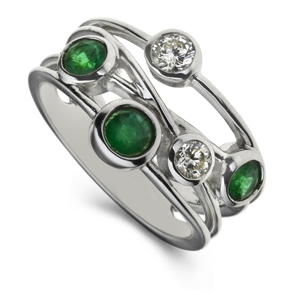 Diamond & Emerald Five Stone Bubble Ring