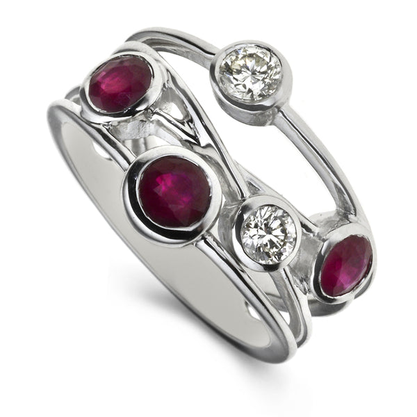Diamond & Ruby Five Stone Bubble Ring