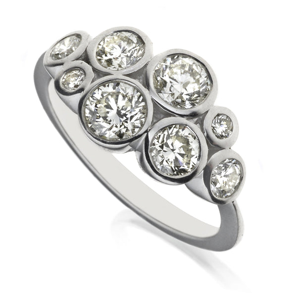 Diamond Eight Stone Bubble Ring