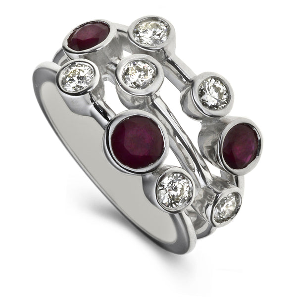 Diamond & Ruby Nine Stone Bubble Ring