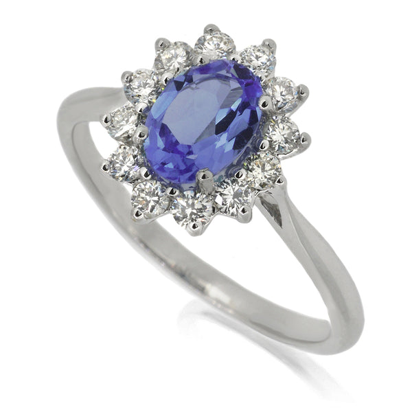 Diamond & Tanzanite Cluster Ring