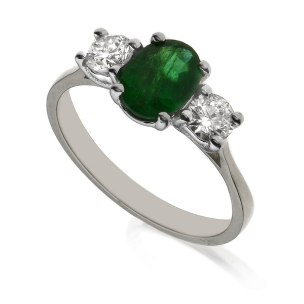 Diamond & Emerald Three Stone Ring