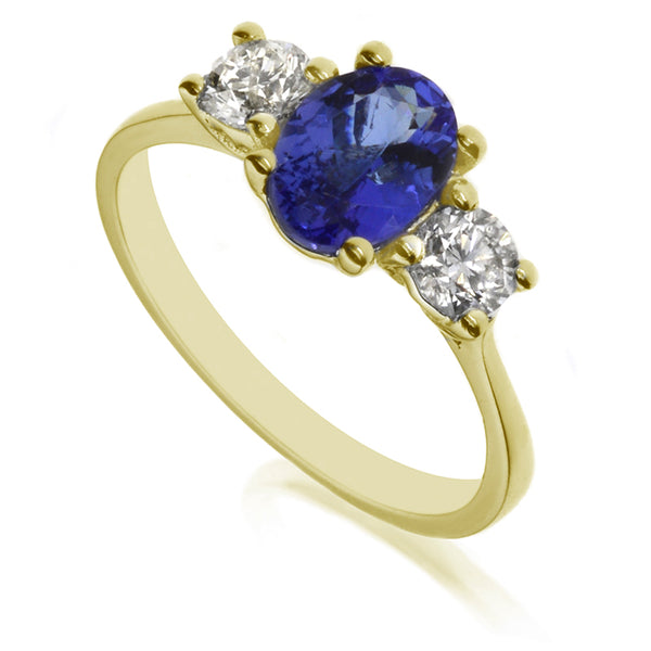 Diamond & Tanzanite Three Stone Ring