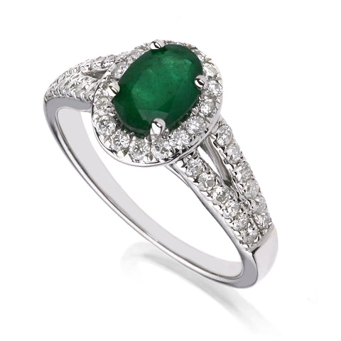 Diamond & Emerald Cluster Ring
