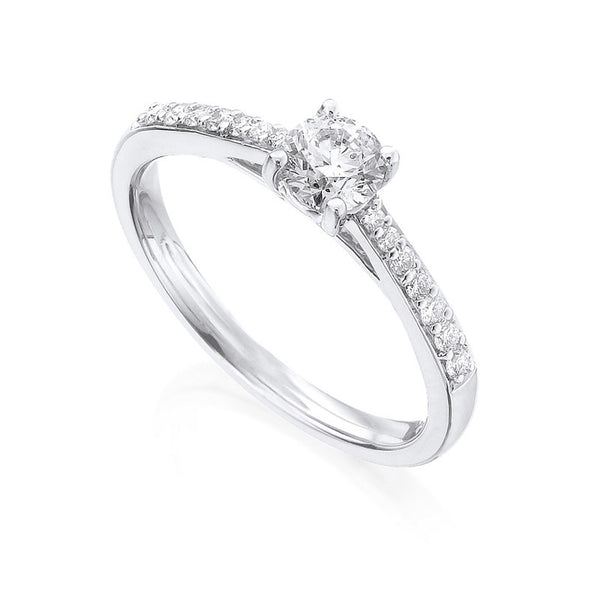 Diamond Ring Semi Mount 0.33 Carat Round Diamond J Color SI2 Clarity