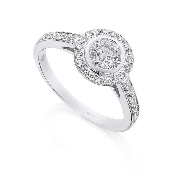 Diamond Ring Semi Mount 0.50 Carat Round Diamond I Color SI2 Clarity IGI Certificate