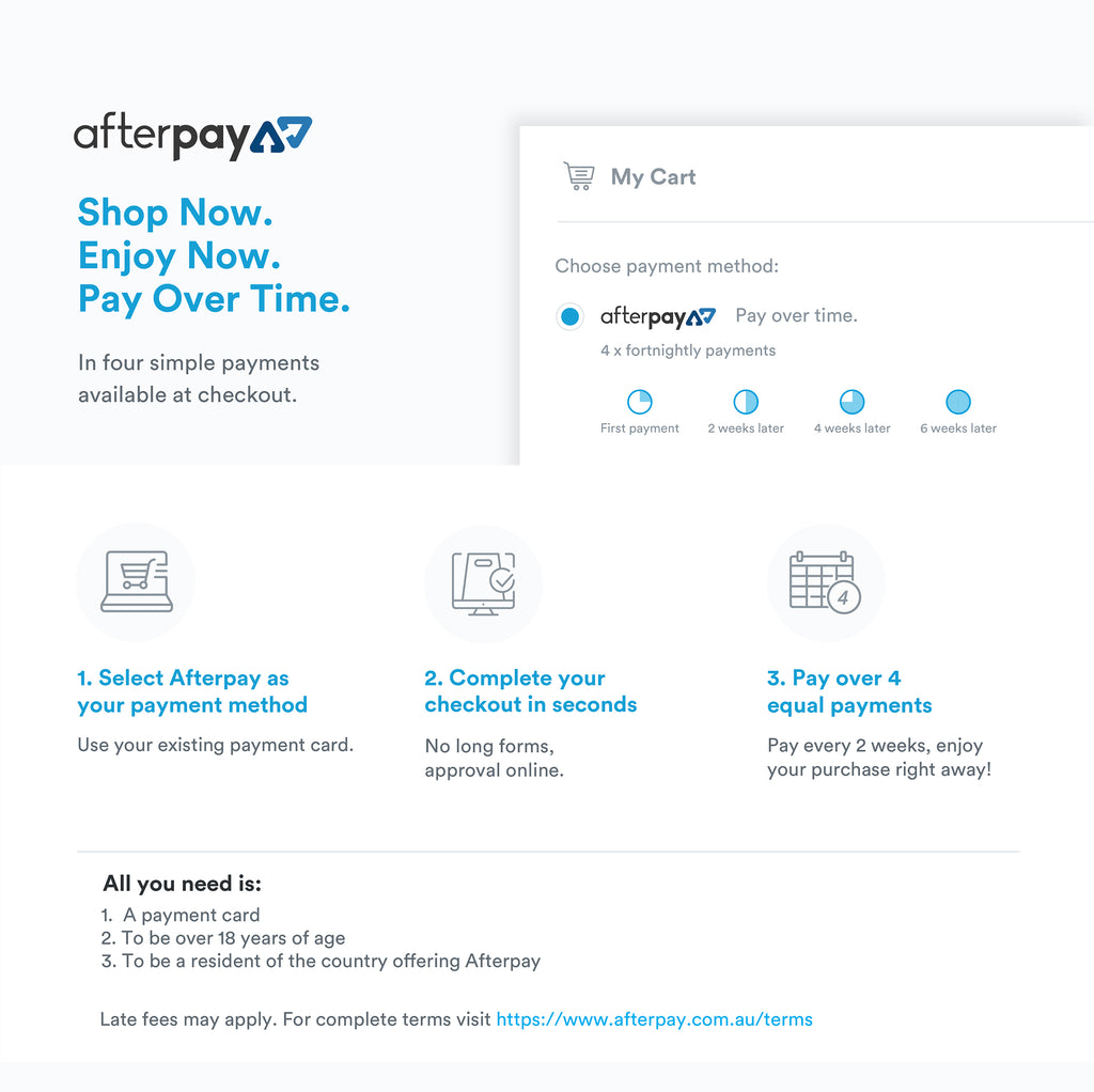 Buy Now Pay Later with AfterPay - How it works | HAUS OF SONG