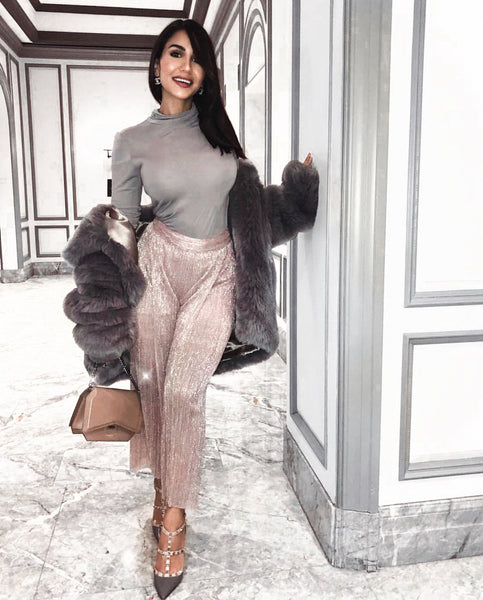 Andriana Chidiac wears SKYE Oversized Faux Fur Coat - SILVER ASH at FaceHalo VIP party | HAUS OF SONG