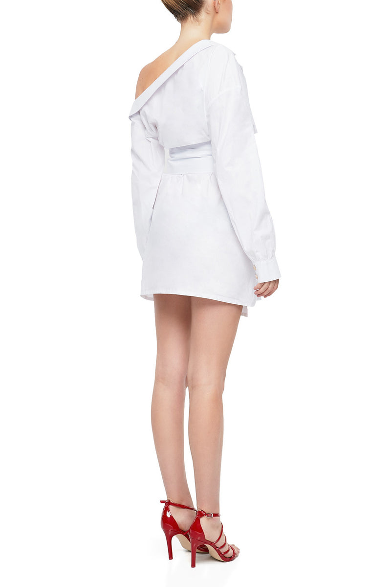 GIA Asymmetrical Cotton Shirt Dress - HAUS OF SONG
