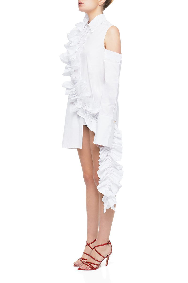 LORDE Ruffled Asymmetrical Shirt Dress | HAUS OF SONG