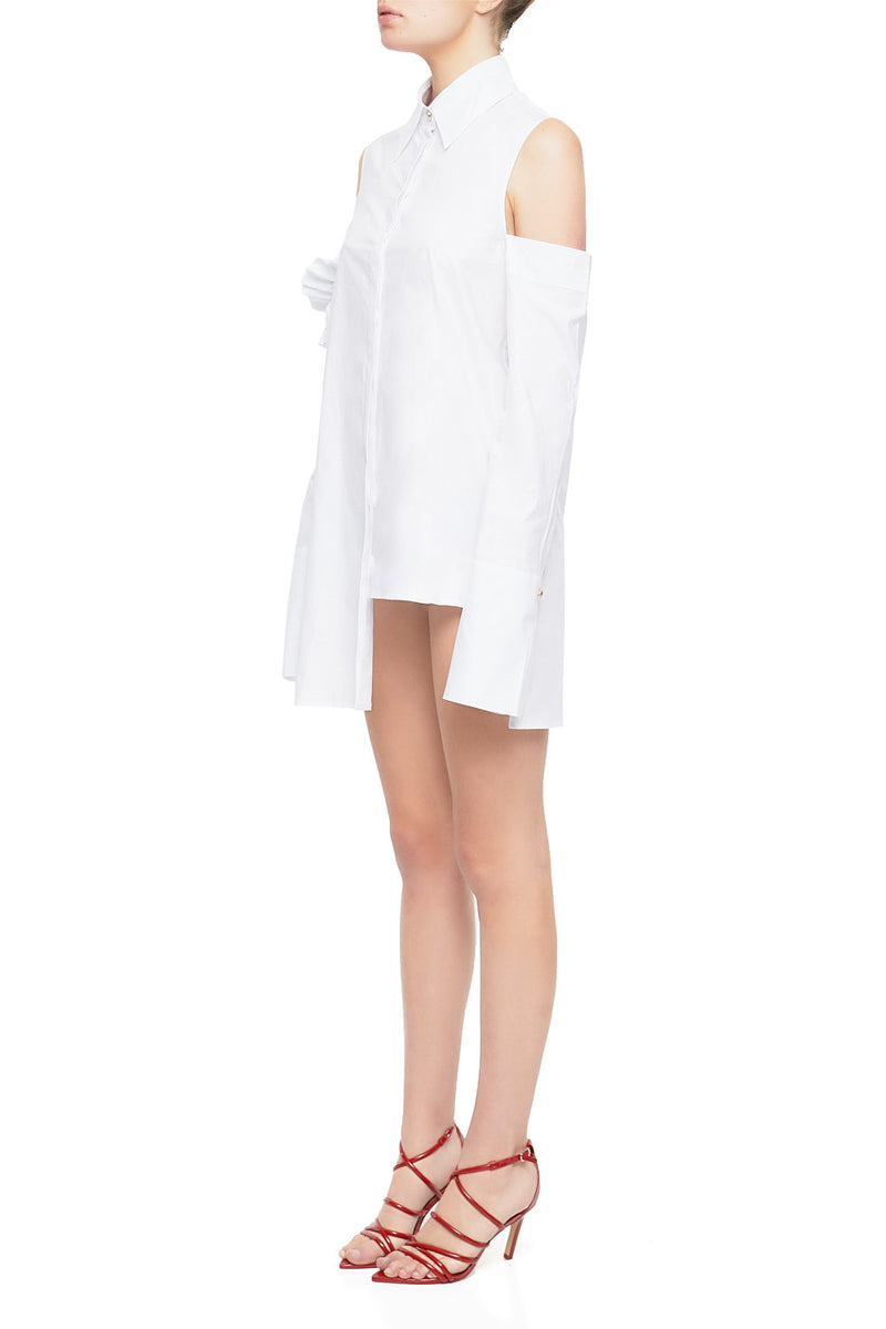 LORDE Ruffled Asymmetrical Shirt Dress - HAUS OF SONG