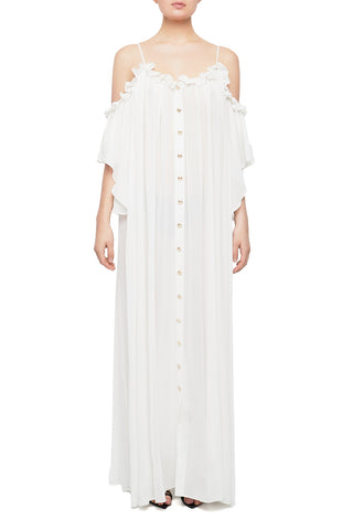 LORDE Ruffled Asymmetrical Shirt Dress
