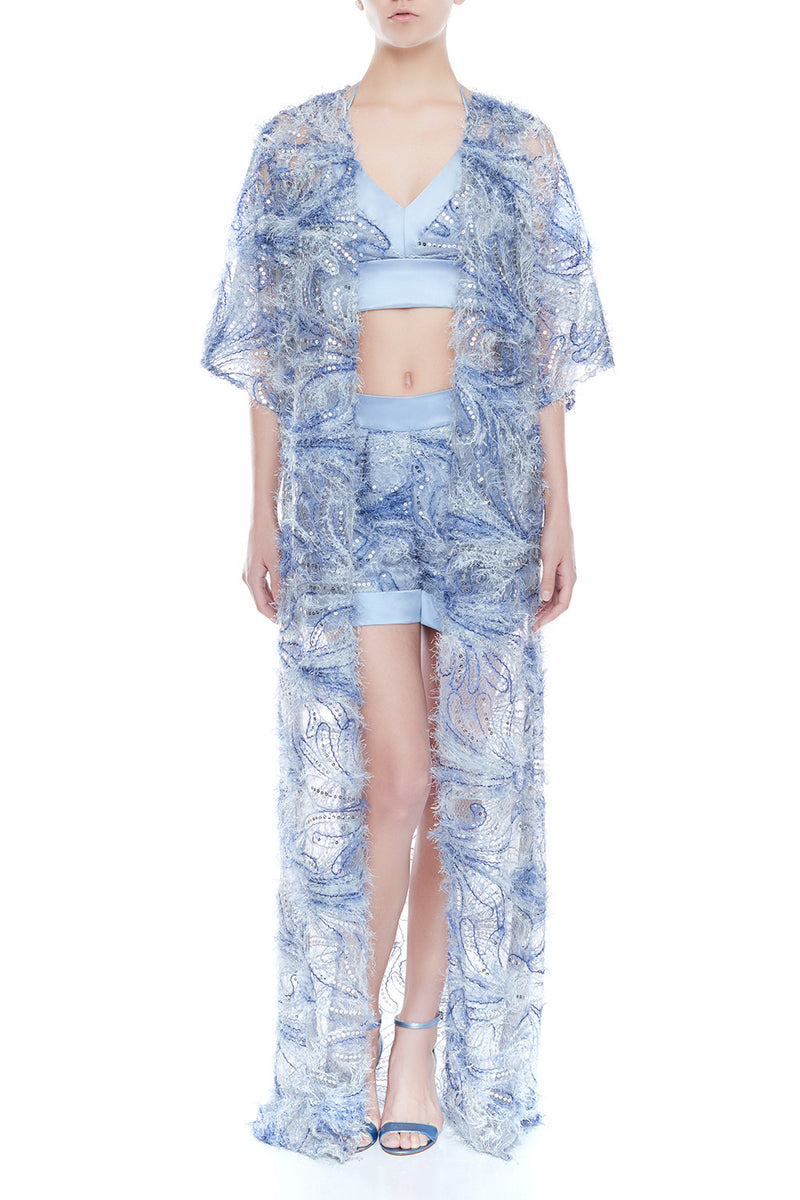 NAOMI Lace Kimono - LAVENDER BLUE | SAMPLE - HAUS OF SONG