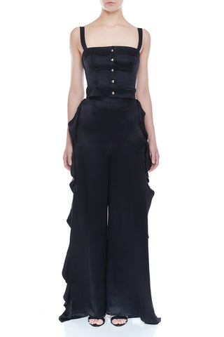 CANDACE Silk Cropped Top - BLK | HAUS OF SONG