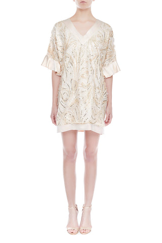 LILLIAN Oversized Silk Dress - CHAMPAGNE | HAUS OF SONG