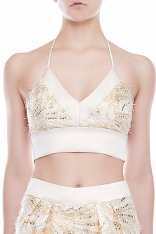 LYDIA Stretch Silk Satin Bralette  - CHAMPAGNE | HAUS OF SONG