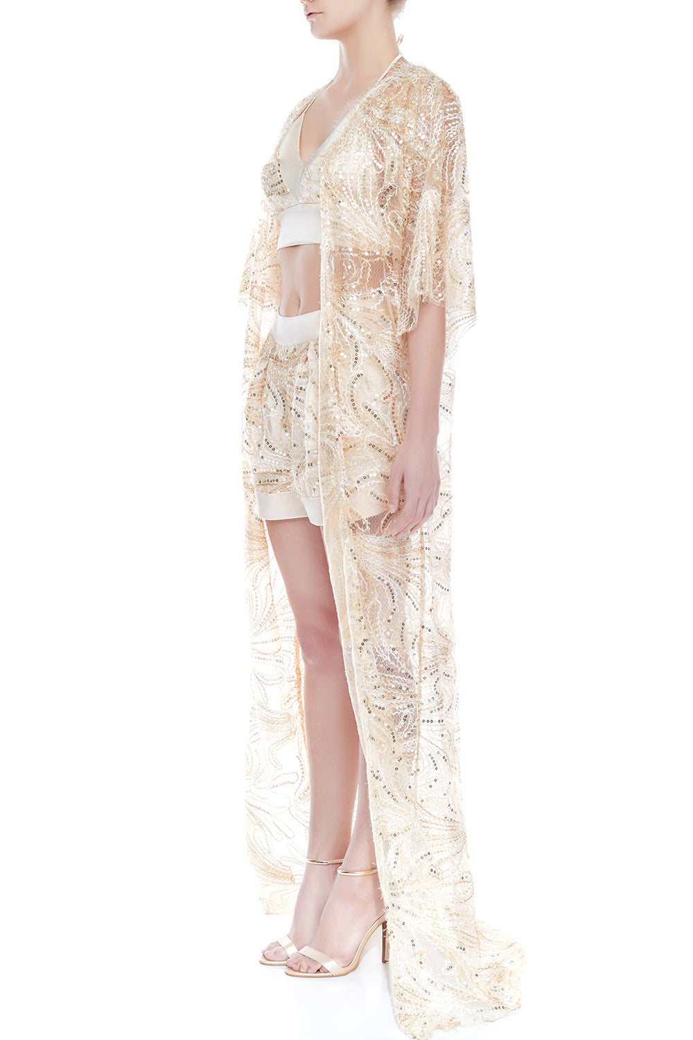NAOMI Lace Kimono - CHAMPAGNE | SAMPLE - HAUS OF SONG