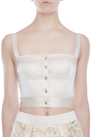 CANDACE Silk Cropped Top - CHAMPAGNE | HAUS OF SONG