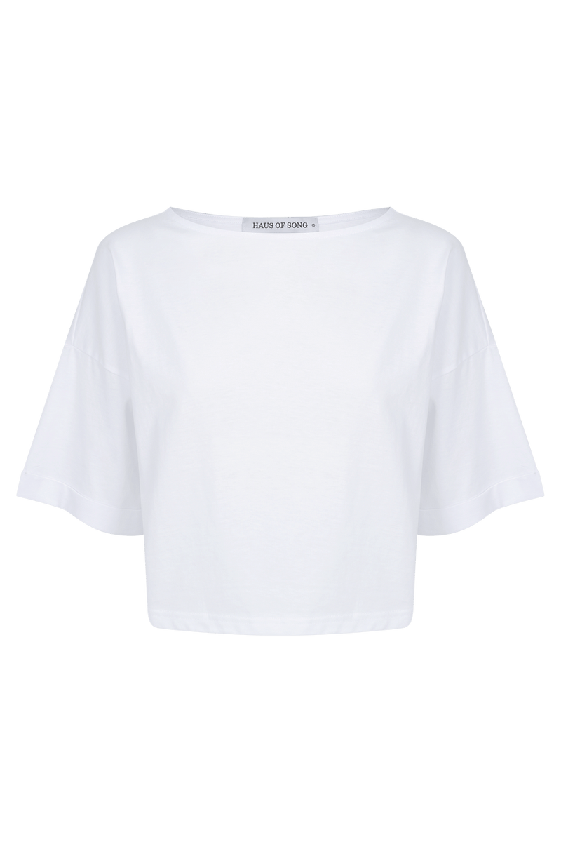 The HS Cropped Tee - WHT - HAUS OF SONG