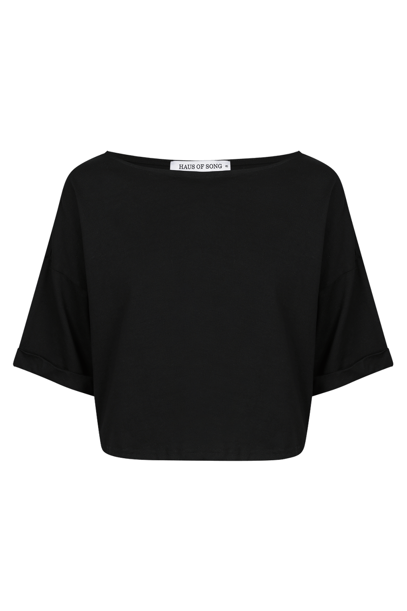 The HS Cropped Tee - BLK - HAUS OF SONG
