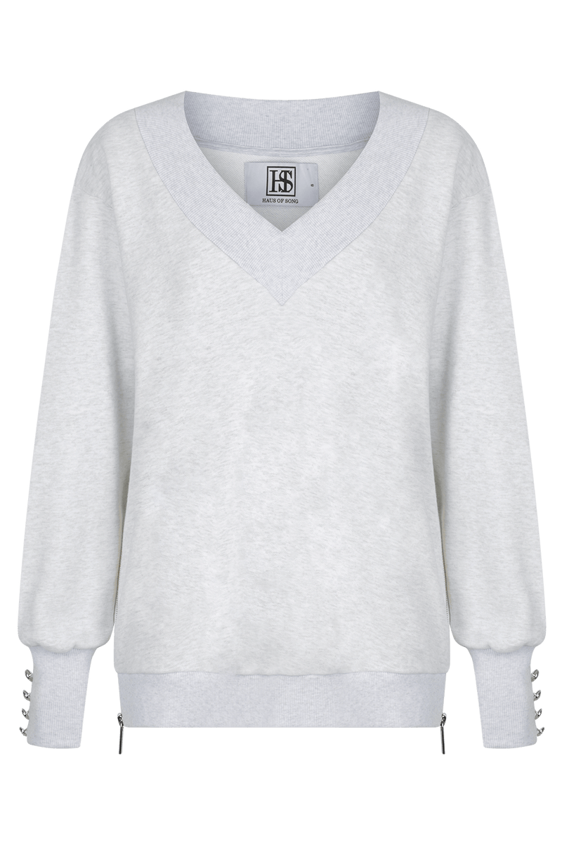 OPEN SIGHT Sweatshirt - GRY/PLTNM - HAUS OF SONG