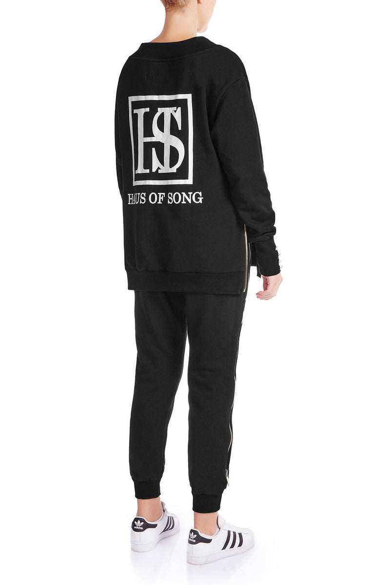OPEN SIGHT Sweatshirt - BLK/GLD - HAUS OF SONG
