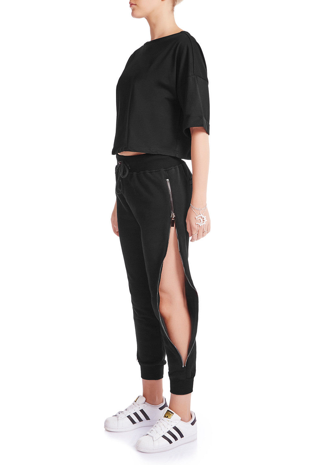 SLIDE AWAY Jogger Pants- EXLUSIVE BLK/BLK - HAUS OF SONG