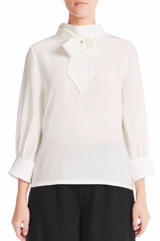 ELIE Silk Crêpe De Chine Blouse - IVORY - HAUS OF SONG