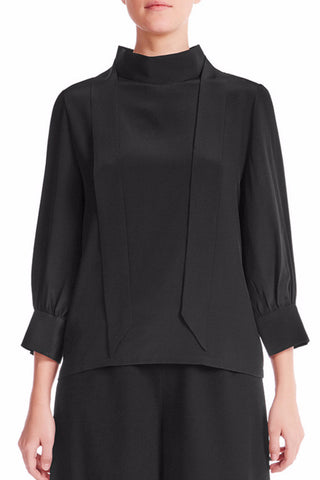 ELIE Silk Crêpe De Chine Blouse - MIDNIGHT - HAUS OF SONG