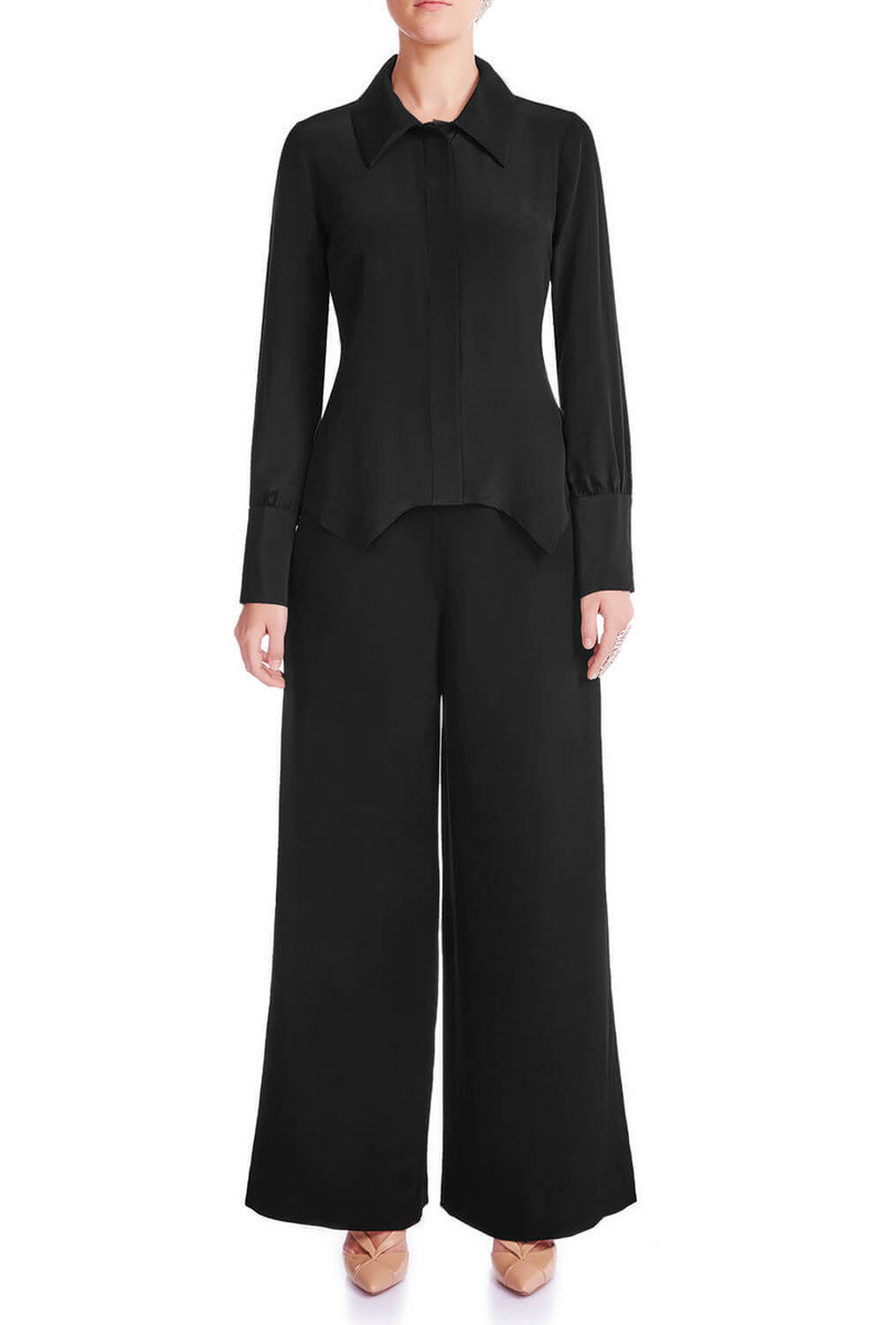 JANEL Silk Crêpe De Chine Shirt - MIDNIGHT | HAUS OF SONG