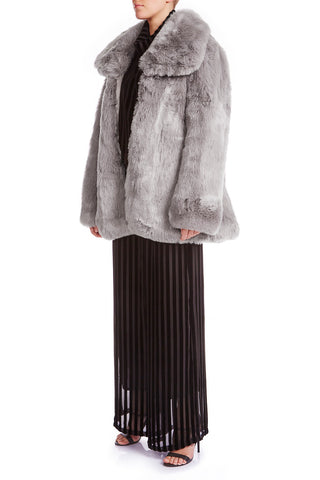 SKYE Oversized Faux Fur Coat - SILVER ASH - HAUS OF SONG